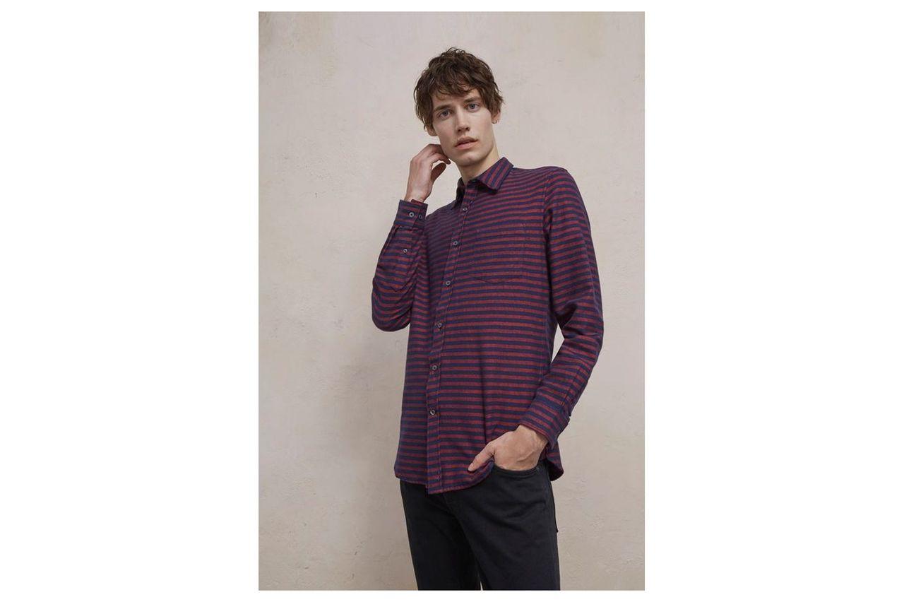 Flannel Striped Shirt - flame scarlet/black iris