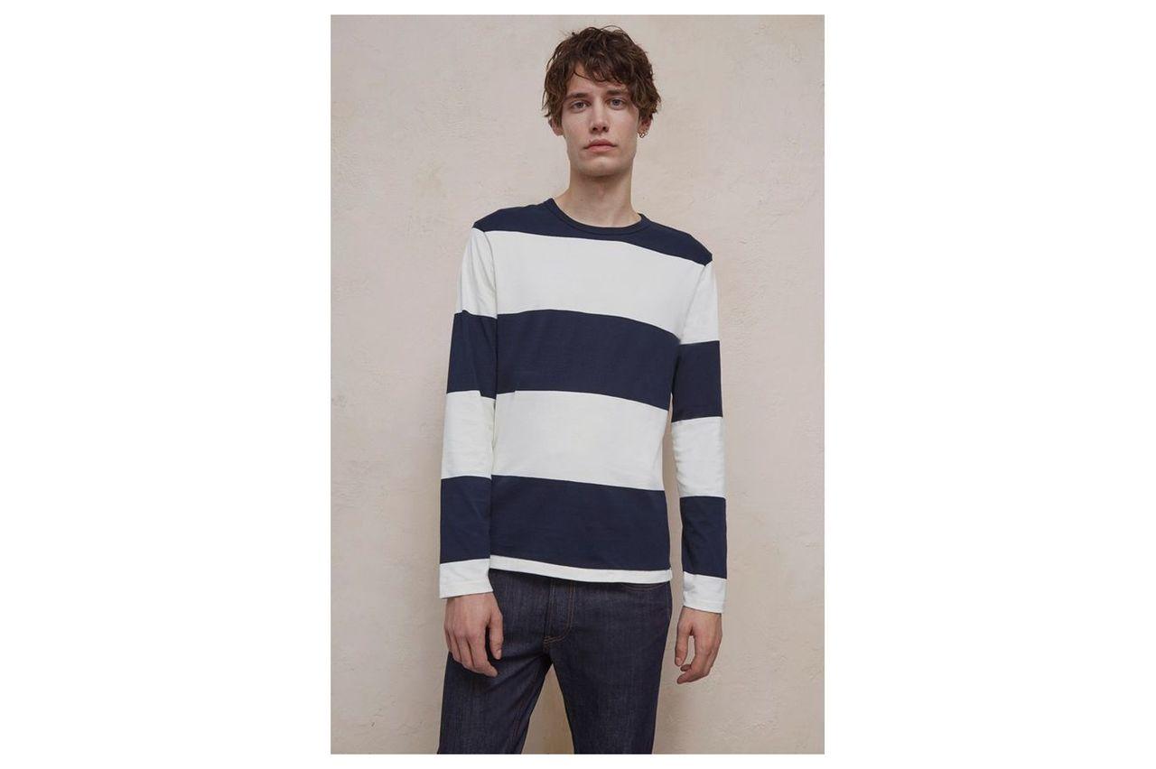 Block Stripe Crew Neck T-Shirt - milk/marine blue