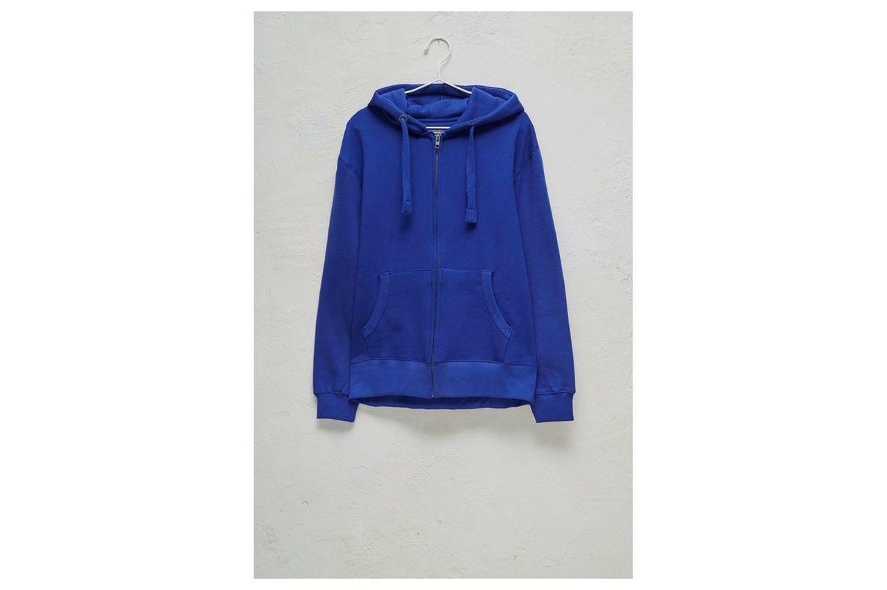 Zip-up Hooded Sweatshirt - bright blue/white