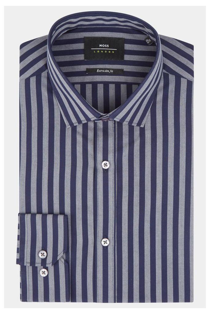 Moss London Extra Slim Fit Navy & Grey Single Cuff Stripe Shirt