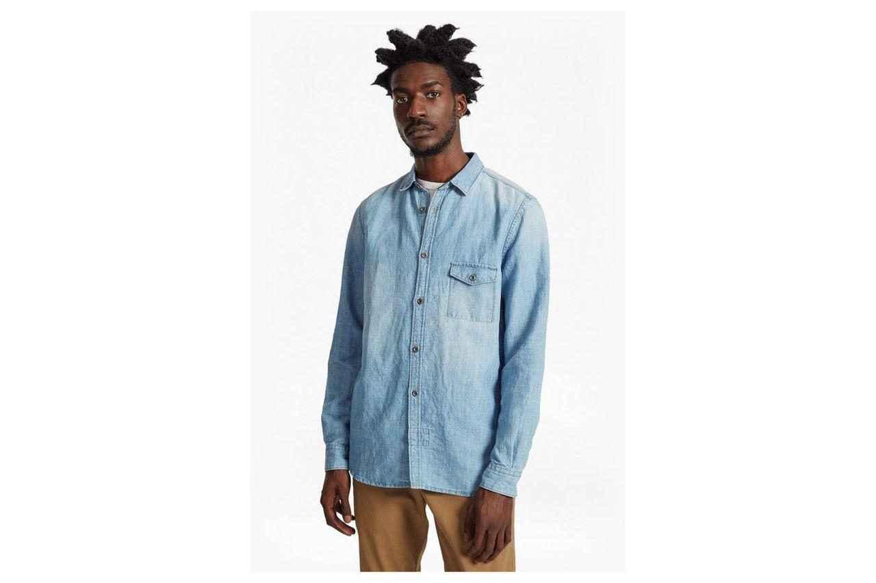 Cotton Linen Denim Shirt - bleach