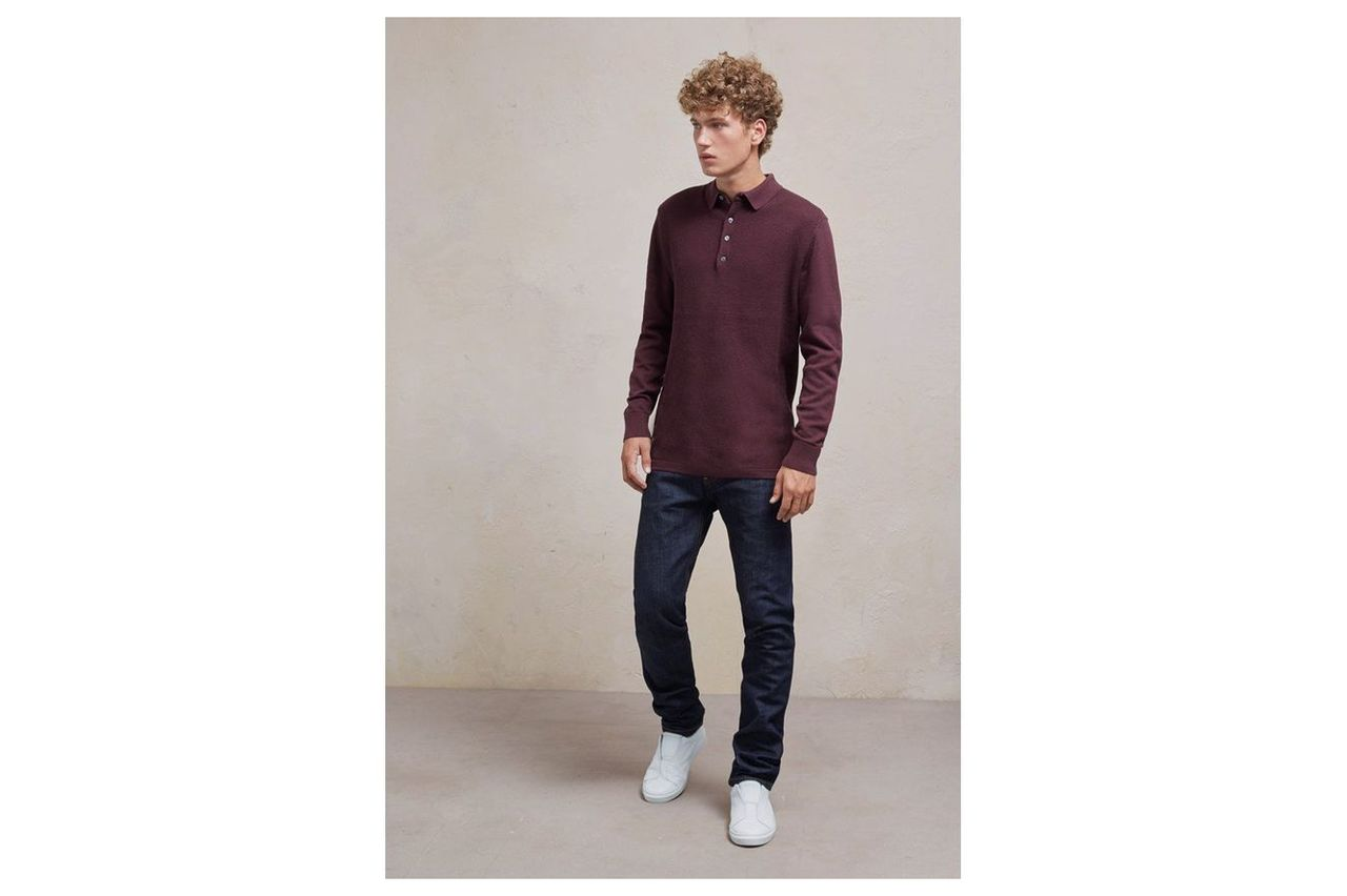 Textured Knit Long Sleeved Polo Shirt - bordeaux