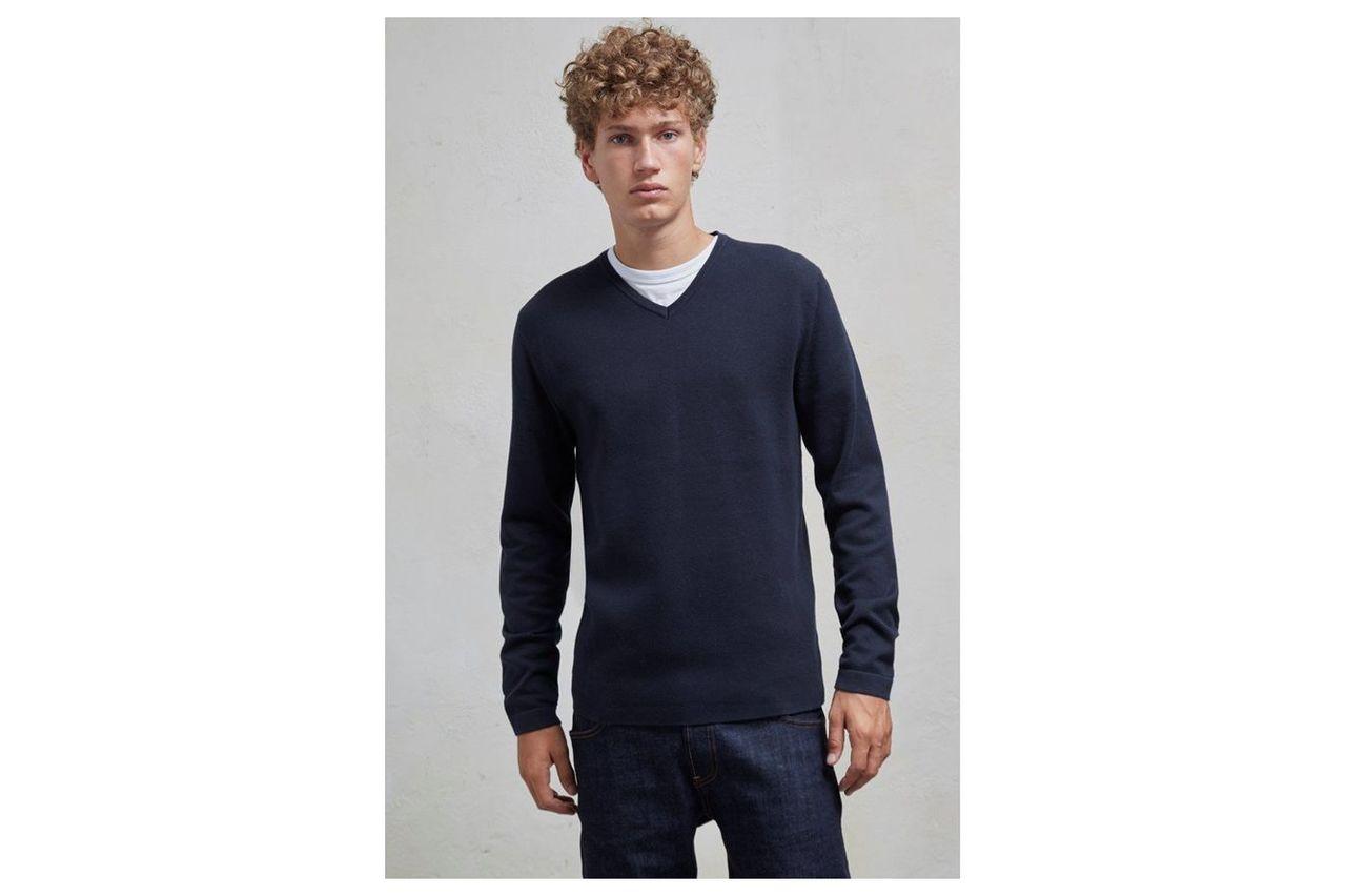 Milano Front Cotton V Neck Jumper - marine blue