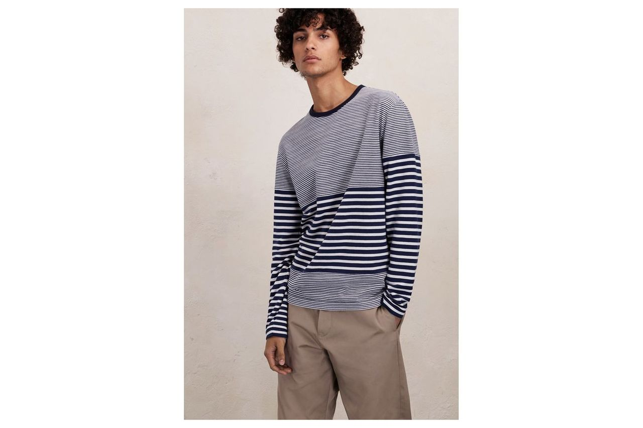 Double Face Striped Long Sleeved Top - marine blue/milk