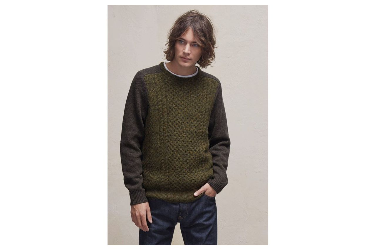 Mohair Cable Knit Mix Jumper  - military olive