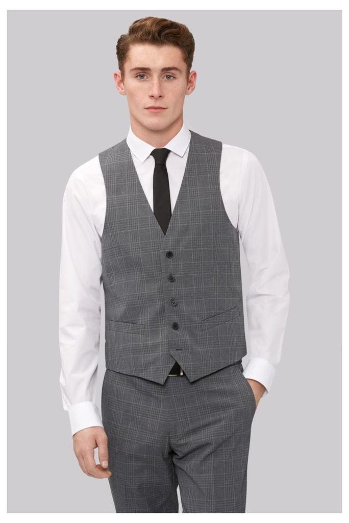 Moss London Skinny Fit Grey Check Waistcoat