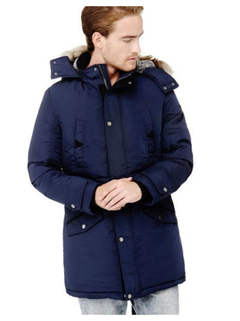 Guess Parka With Faux Fur Hood