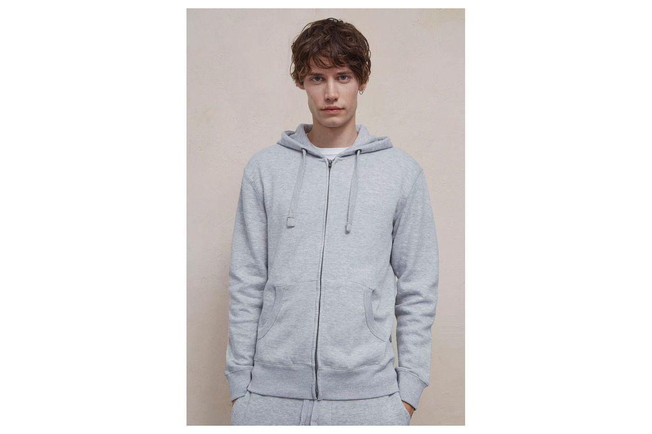 Zip-up Hooded Sweatshirt - light grey marl