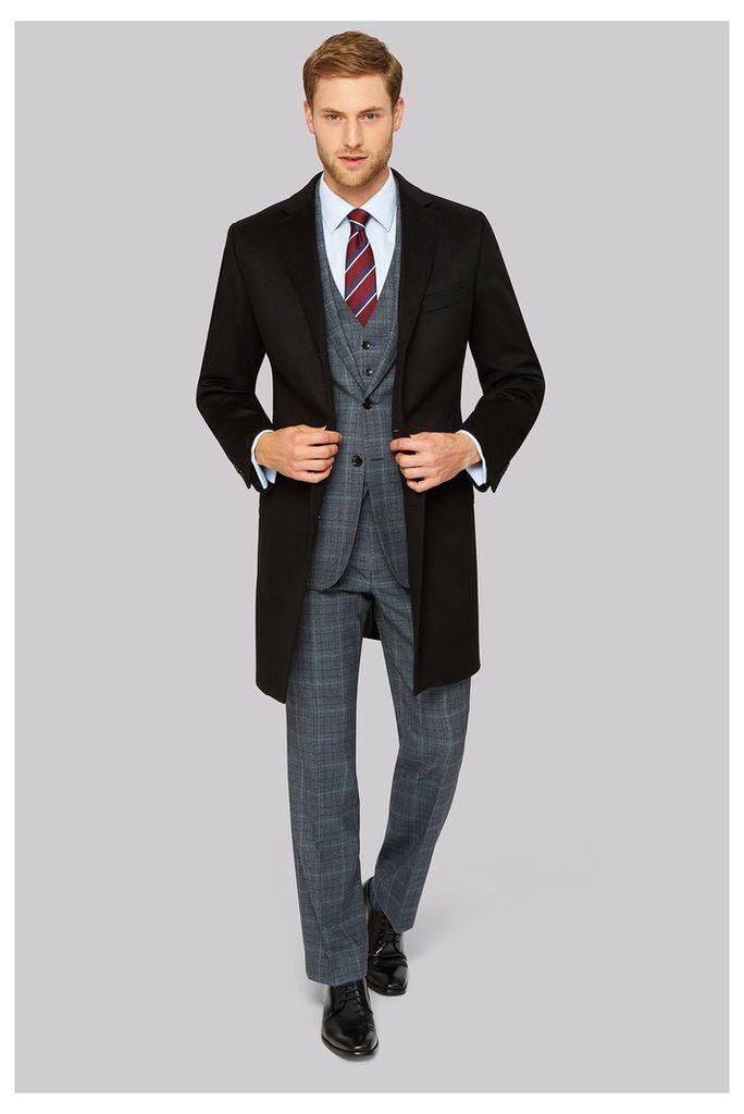Prestige Regular Fit Black Cashmere Overcoat