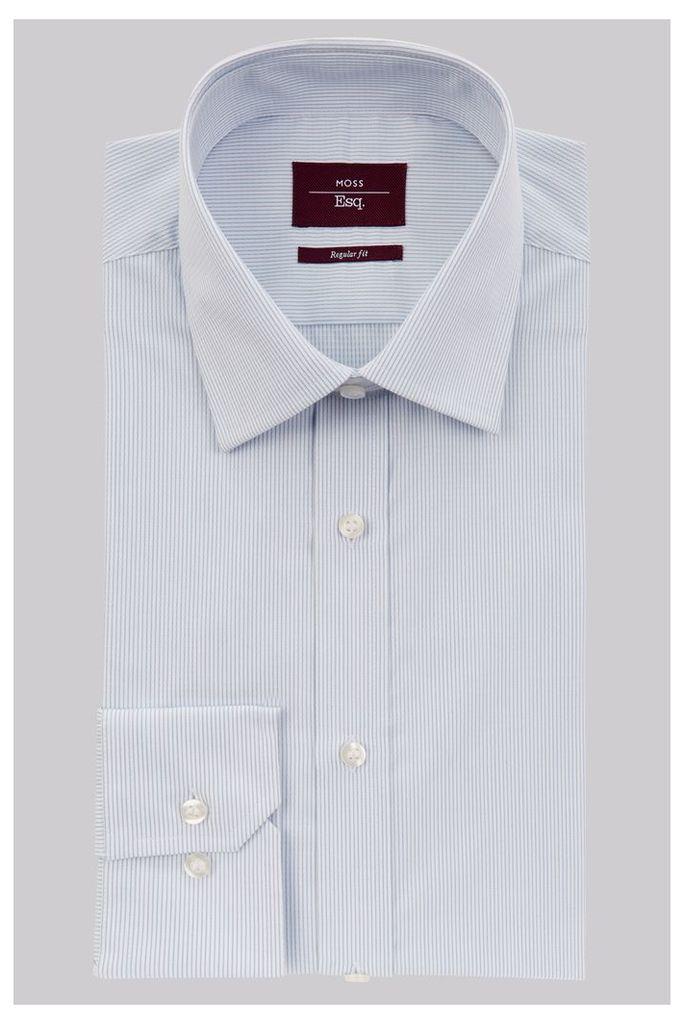Moss Esq. Regular Fit Sky Single Cuff Stripe Shirt