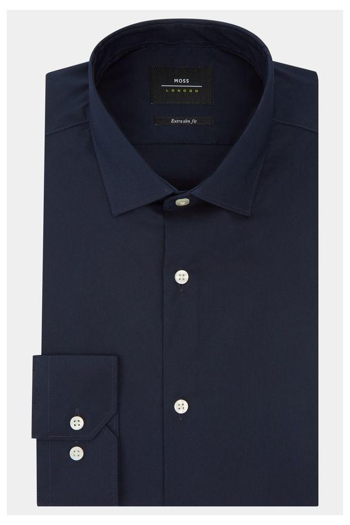 Moss London Extra Slim Fit Navy Single Cuff Stretch Shirt
