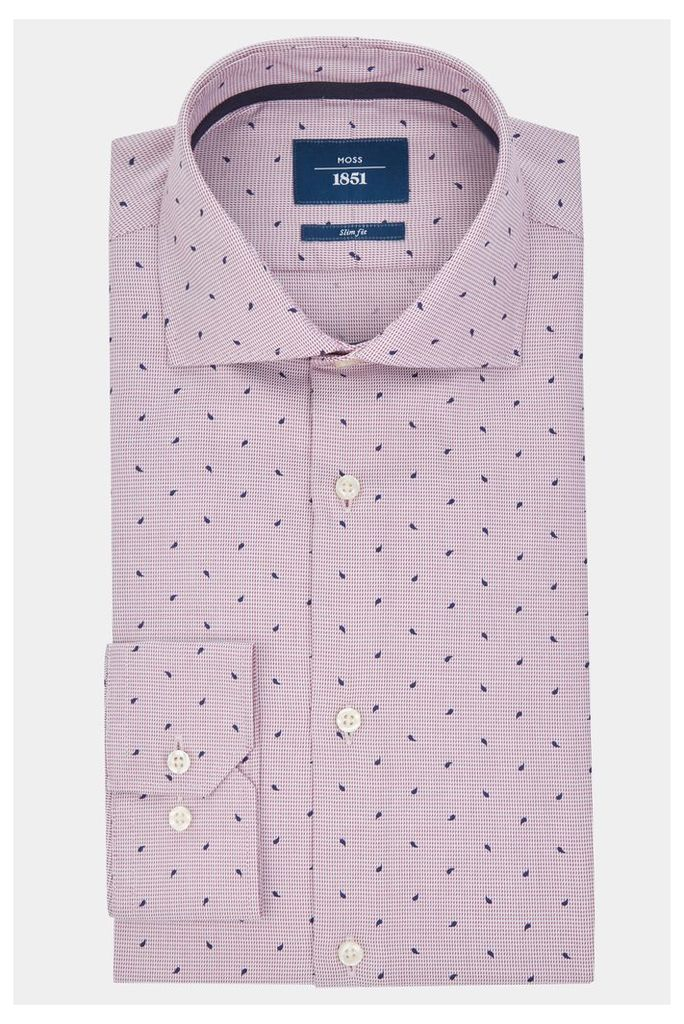 Moss 1851 Slim Fit Wine Single Cuff Paisly Check Print Shirt