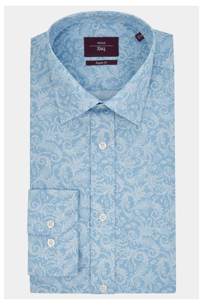 Moss Esq. Regular Fit Blue Single Cuff Paisley Print Shirt