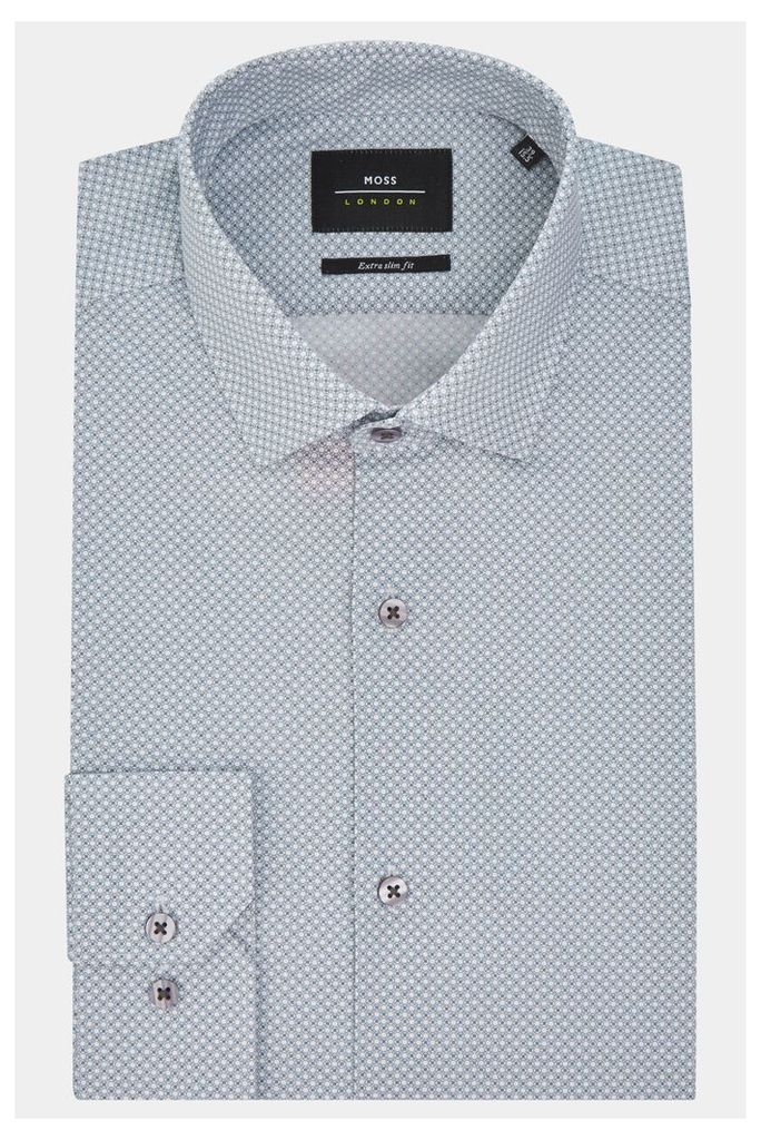Moss London Extra Slim Fit Grey Single Cuff Geo Print Stretch Shirt
