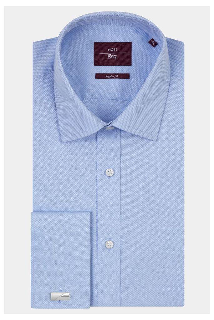 Moss Esq. Regular Fit Blue Double Cuff Dobby Textured Shirt