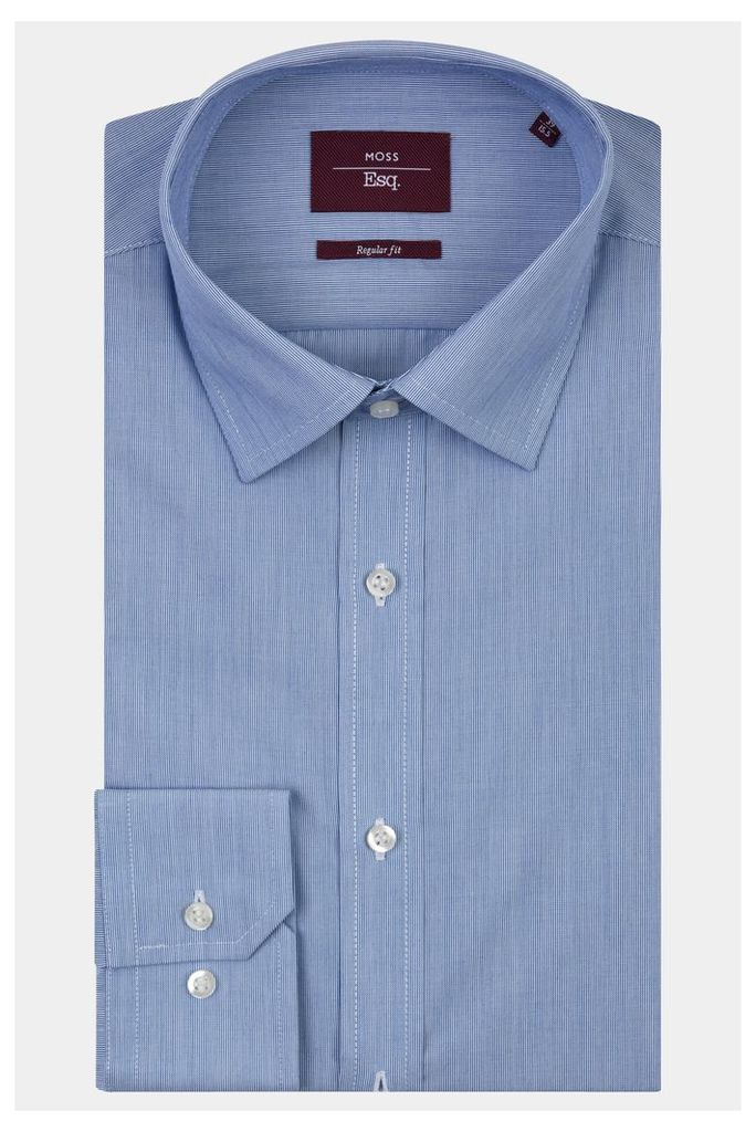Moss Esq. Regular Fit Navy Single Cuff Hairline Stripe Shirt