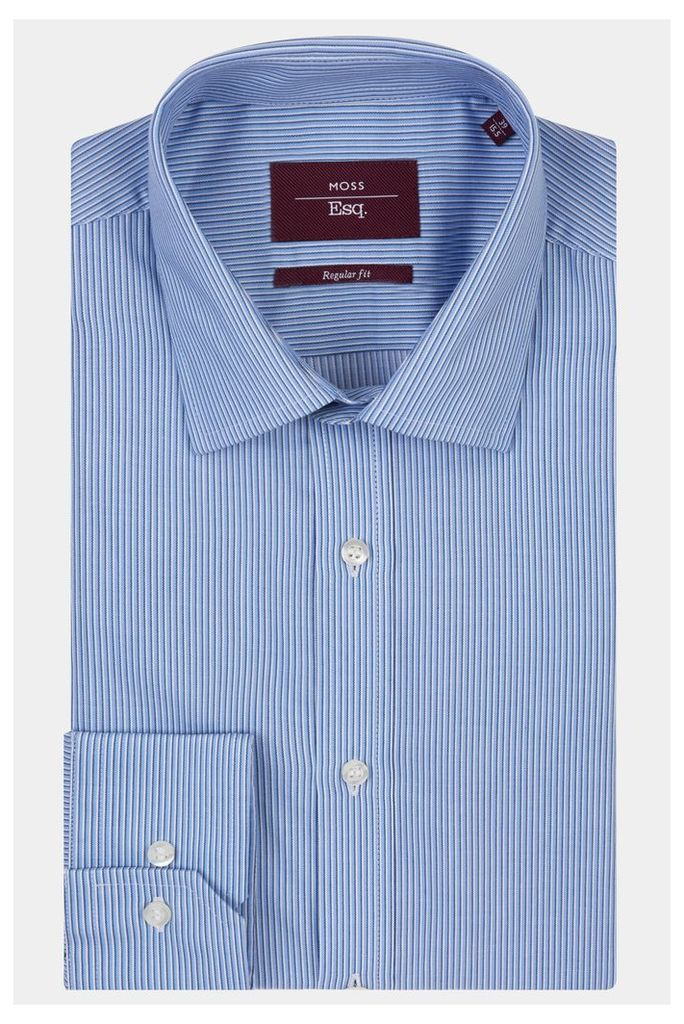 Moss Esq. Regular Fit Blue Single Cuff Stripe Shirt