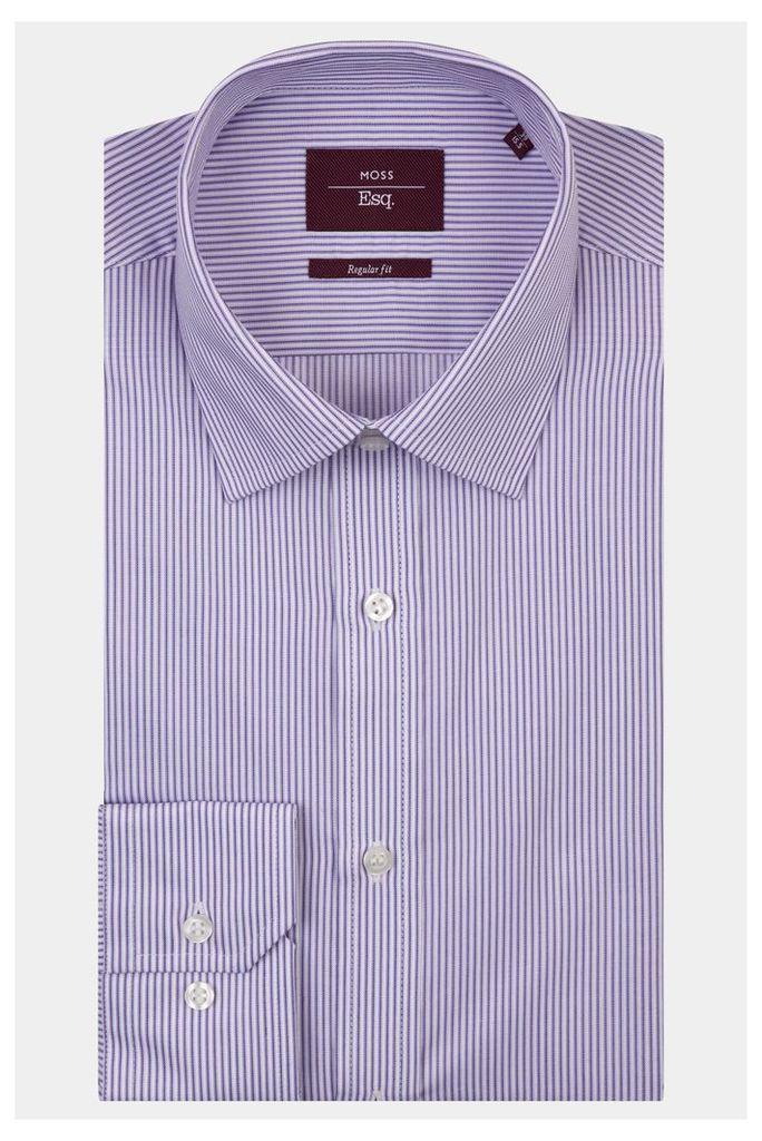 Moss Esq. Regular Fit Purple Single Cuff Tonal Stripe Shirt