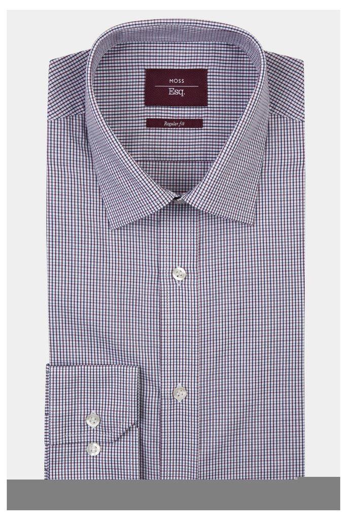 Moss Esq. Regular Fit Wine Single Cuff Check Shirt