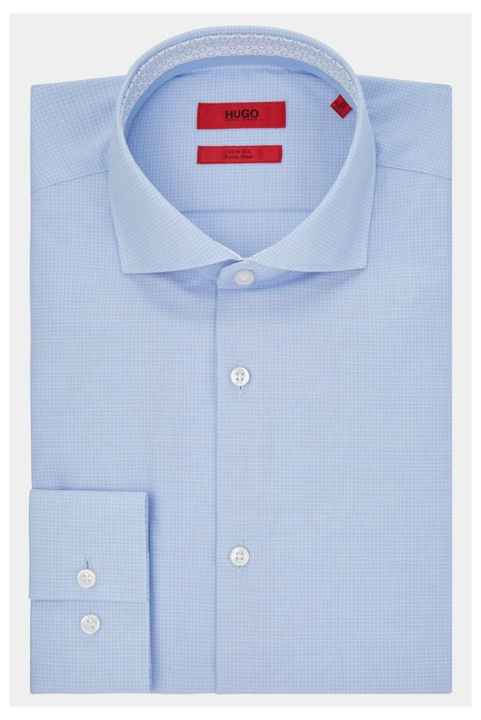Hugo Boss Single Cuff Jery Blue Grid Check Shirt