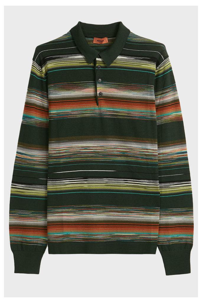 Missoni Space Dye Wool-Blend Polo Top