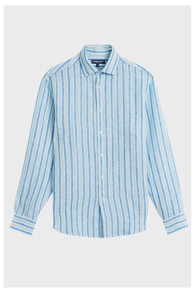 Frescobol Carioca Striped Linen Shirt