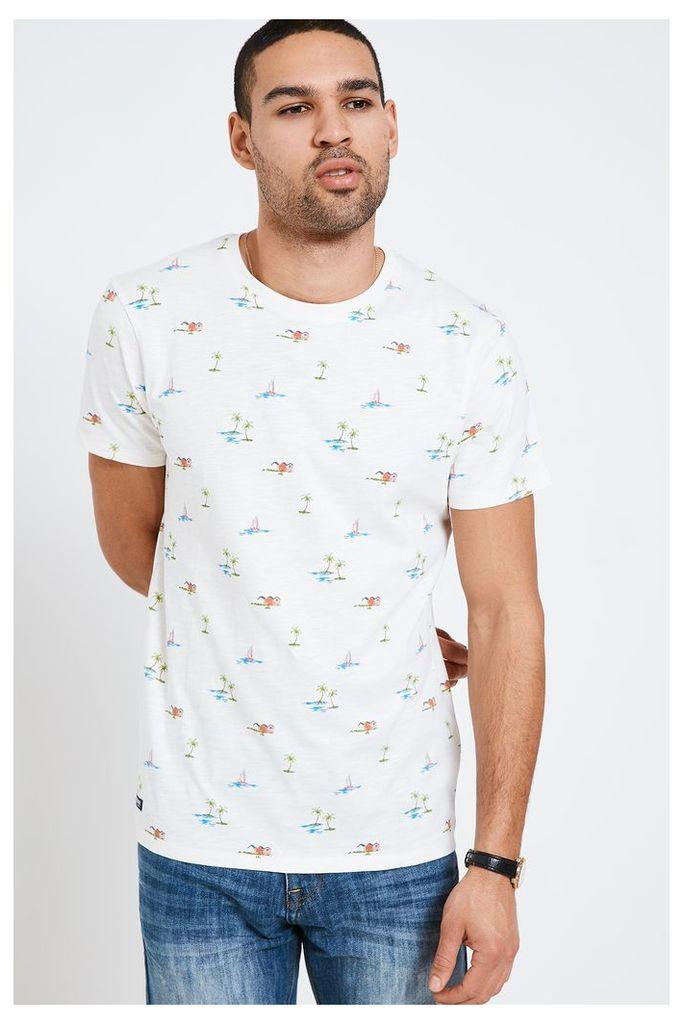 Threadbare Beach Print T-Shirt - Cream