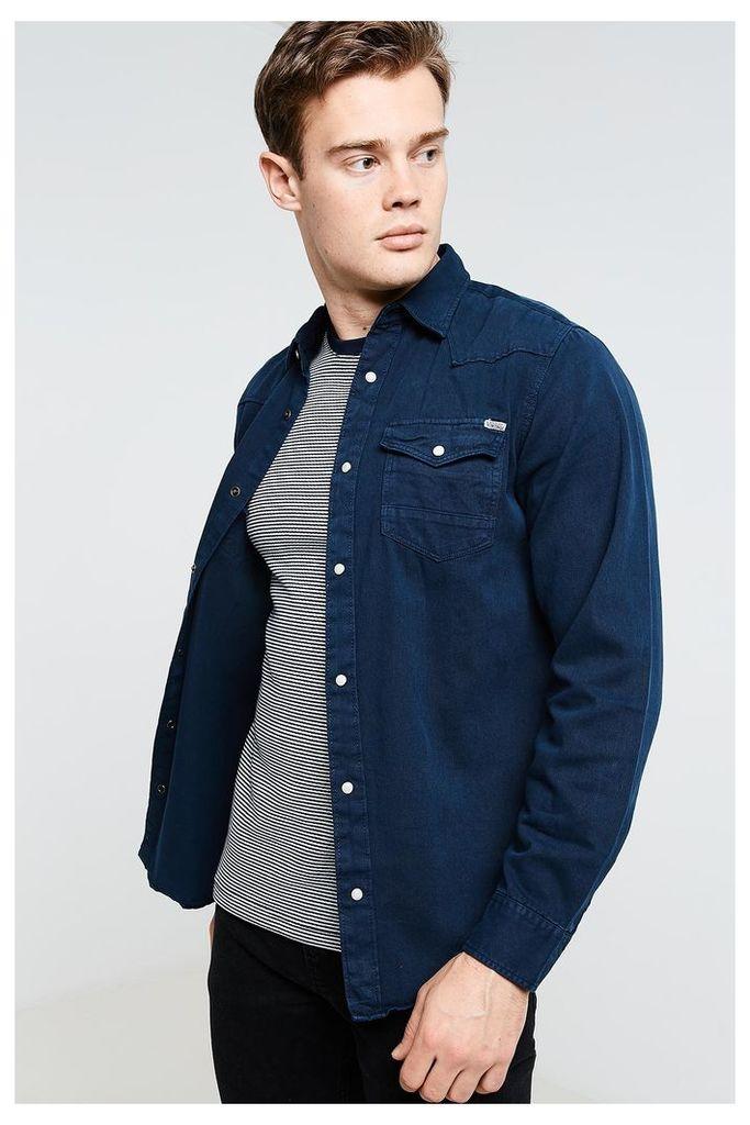 Jack & Jones Long Sleeve Western Shirt - Navy