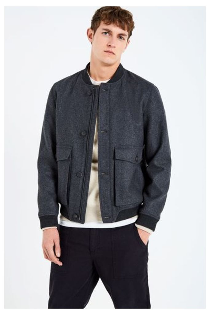 BOWES WOOL BOMBER CHARCOAL