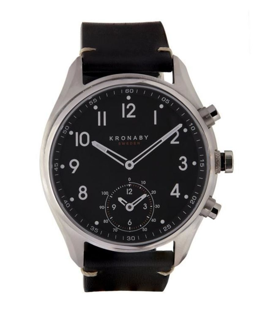 Apex Stainless Steel Leather Strap Watch