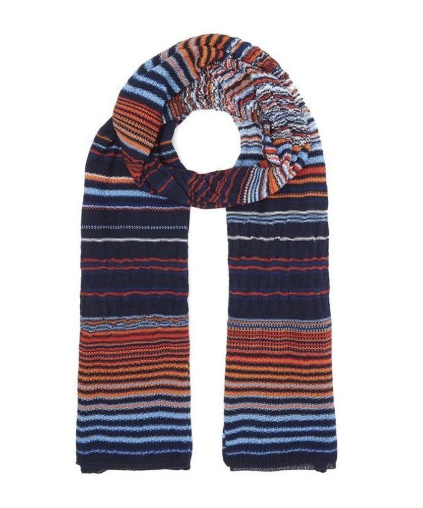 Multi Knit Horizontal Stripe Scarf