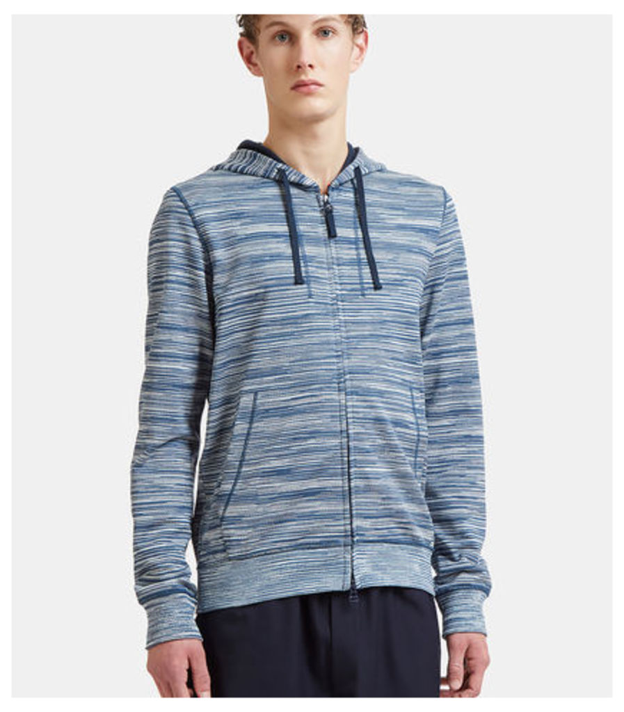 Striped Zip-Up Cotton Hooded Sweater