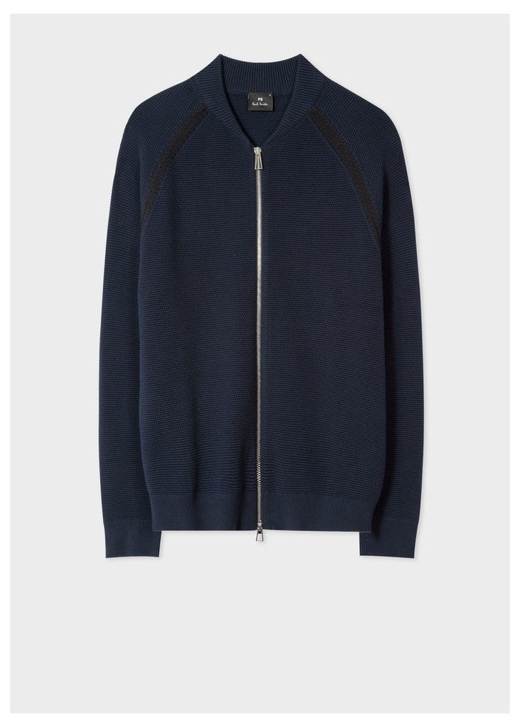 Men's Navy Cotton Zip-Front Cardigan