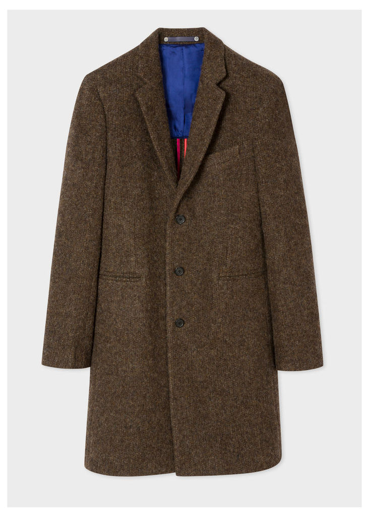 Men's Brown Textured Wool-Blend Overcoat