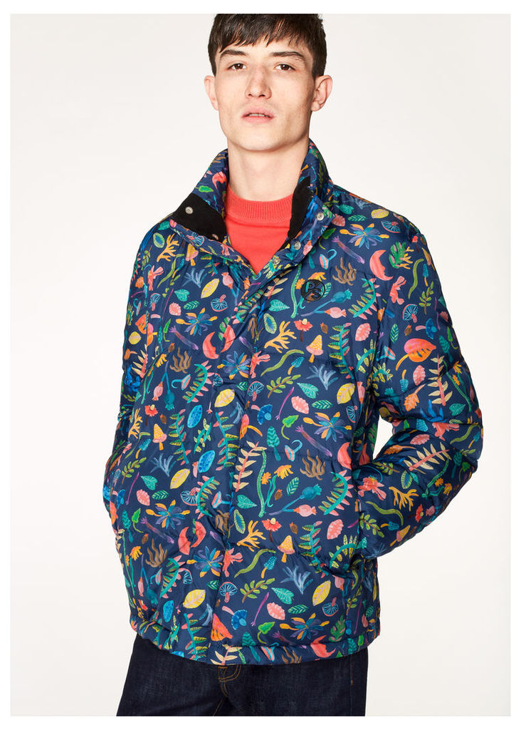 Men's Blue 'Earth Floral' Print Down Jacket