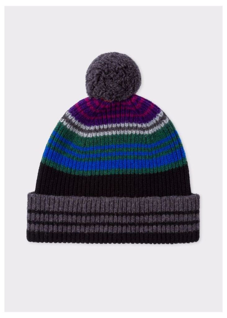 Men's Black Ribbed Lambswool Beanie Hat With Stripes