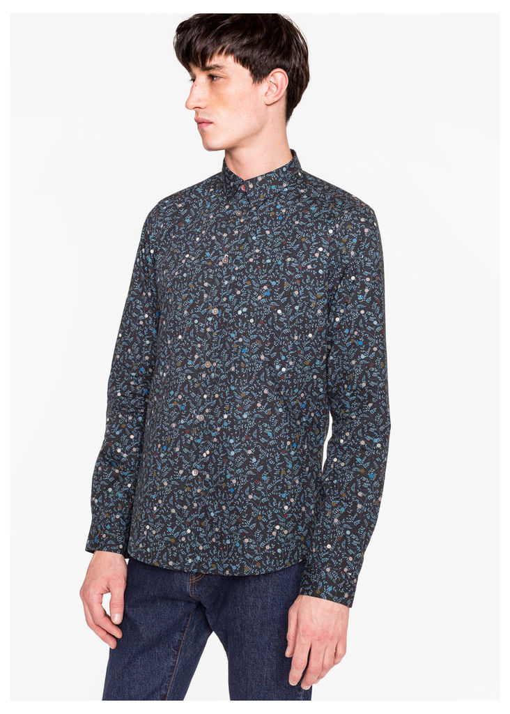Men's Slim-Fit Navy 'Polka Dot Botanical' Print Cotton Shirt