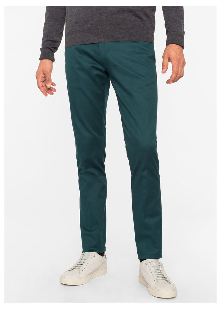 Men's Slim-Fit Dark Green Stretch-Cotton Twill Trousers