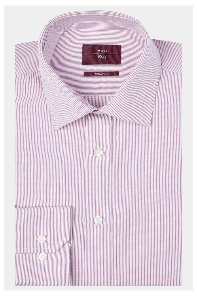 Moss Esq. Regular Fit Pink Single Cuff Stripe Shirt