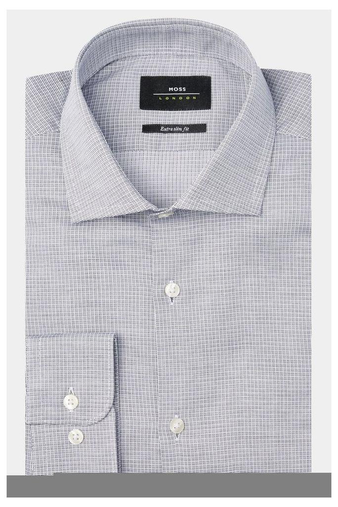 Moss London Premium Extra Slim Fit Black & White Single Cuff Textured Check Shirt