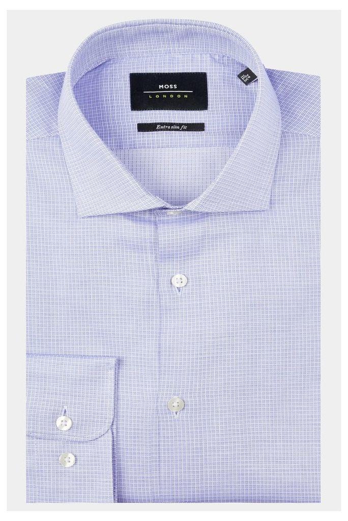 Moss London Premium Extra Slim Fit Blue Single Cuff Textured Check Shirt