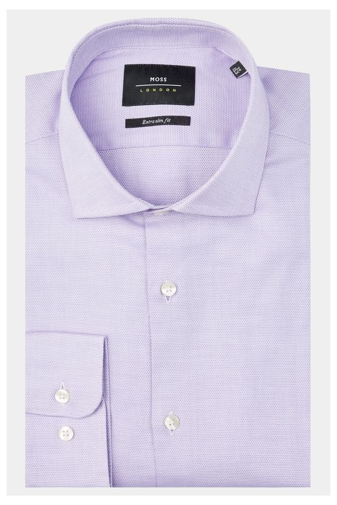 Moss London Premium Extra Slim Fit Lilac Single Cuff Circle Pattern Shirt
