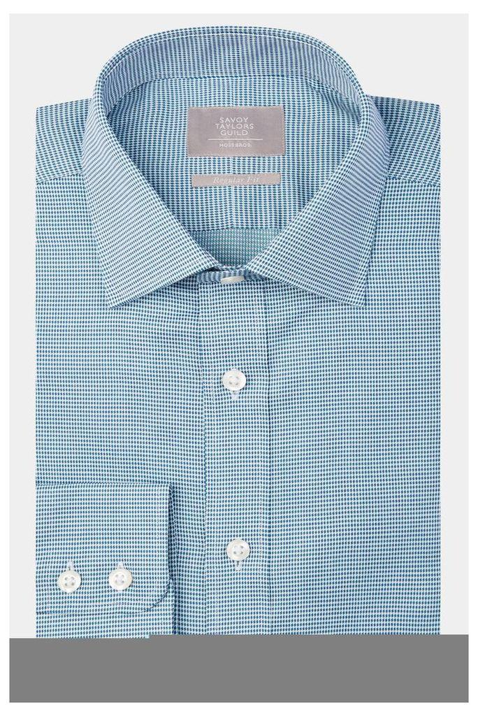 Savoy Taylors Guild Regular Fit Green Single Cuff Tonal Spot Shirt