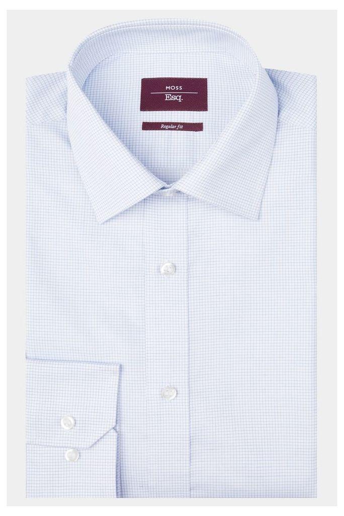 Moss Esq. Regular Fit Sky Single Cuff Check Shirt