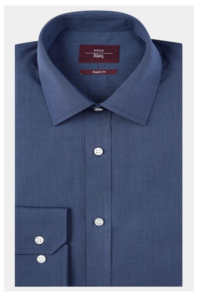 Moss Esq. Regular Fit Navy Single Cuff Shirt