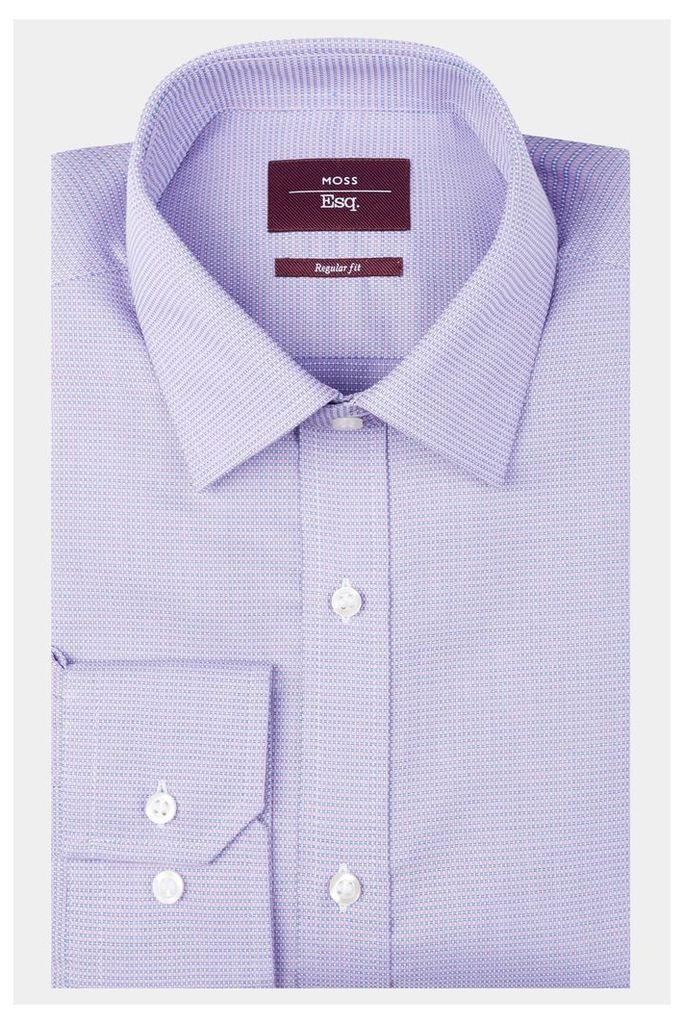 Moss Esq. Regular Fit Lilac & Blue Single Cuff Textured Shirt