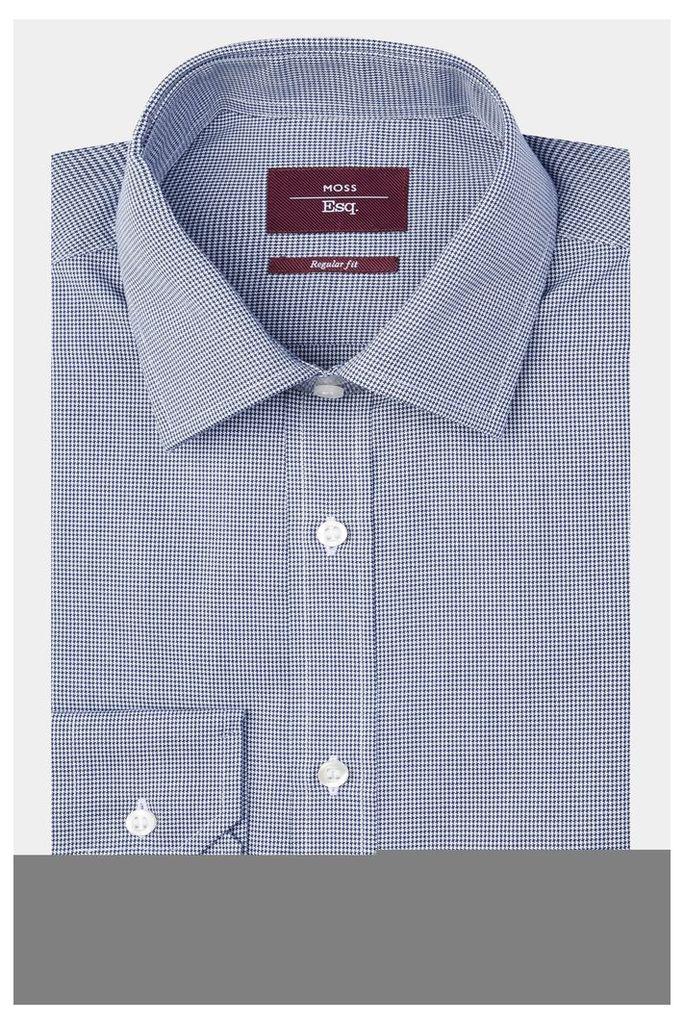 Moss Esq. Regular Fit Navy Single Cuff Puppytooth Shirt