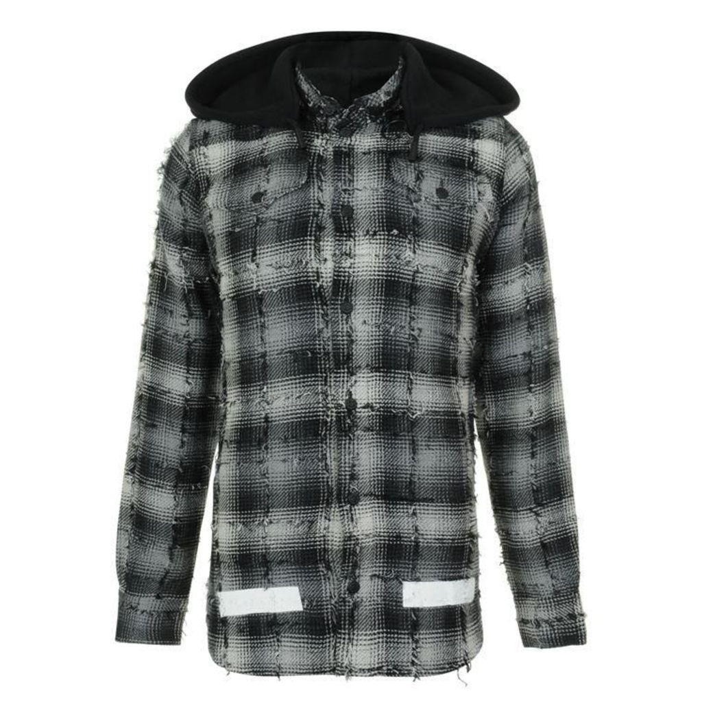 OFF WHITE Hooded Checked Shirt