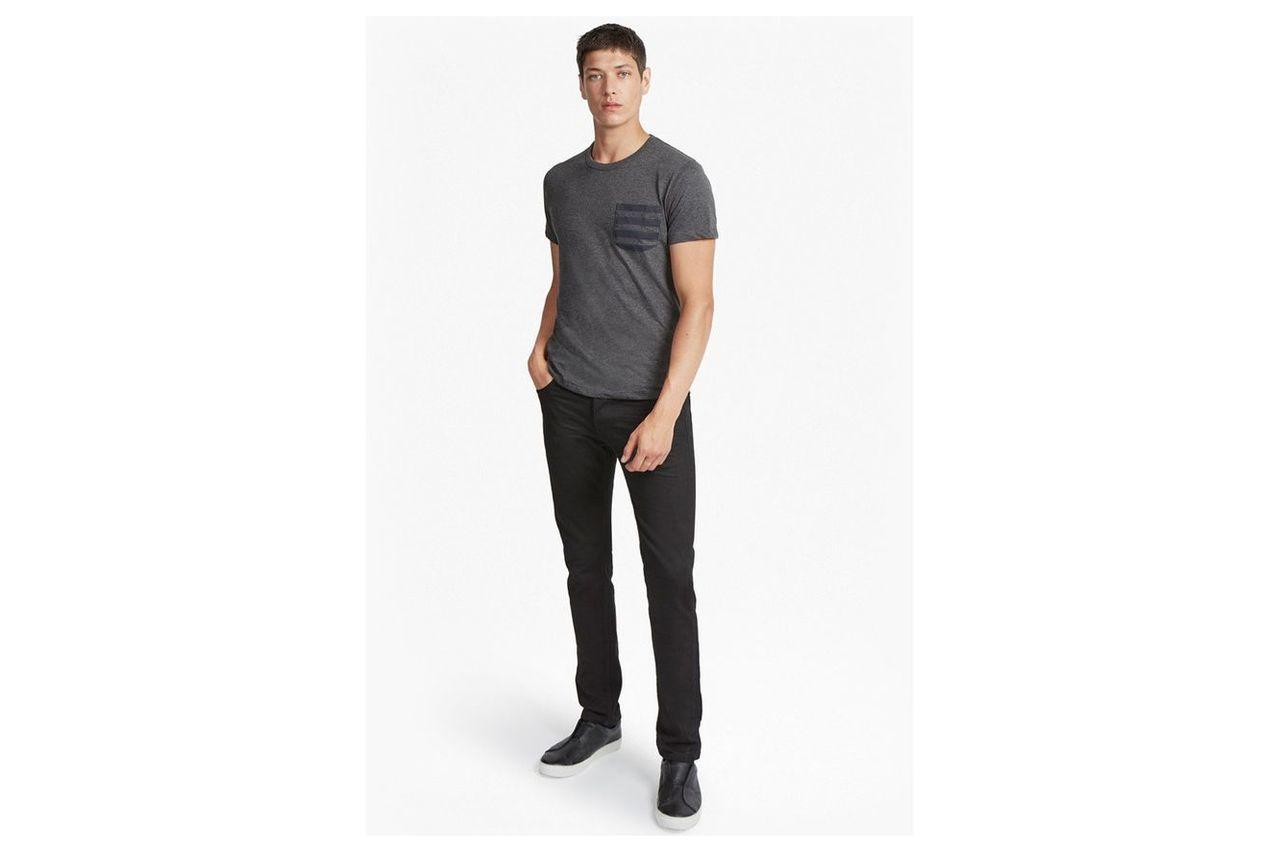 Stripe Pocket T-Shirt - charcoal mel/marine