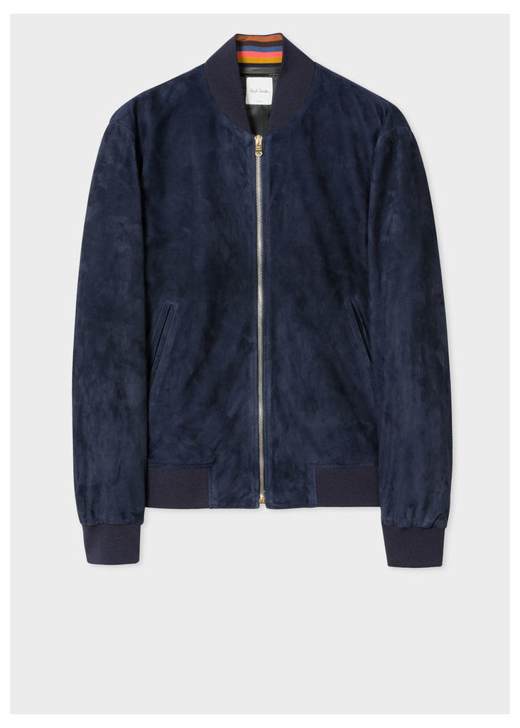 Men's Navy Suede Bomber Jacket